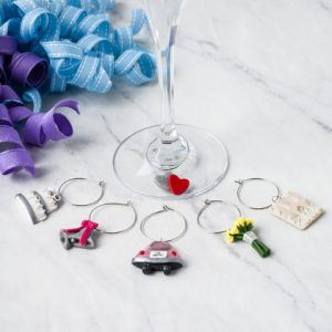 wedding themed wine charms