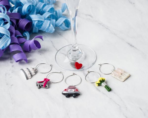 wedding themed wine charms